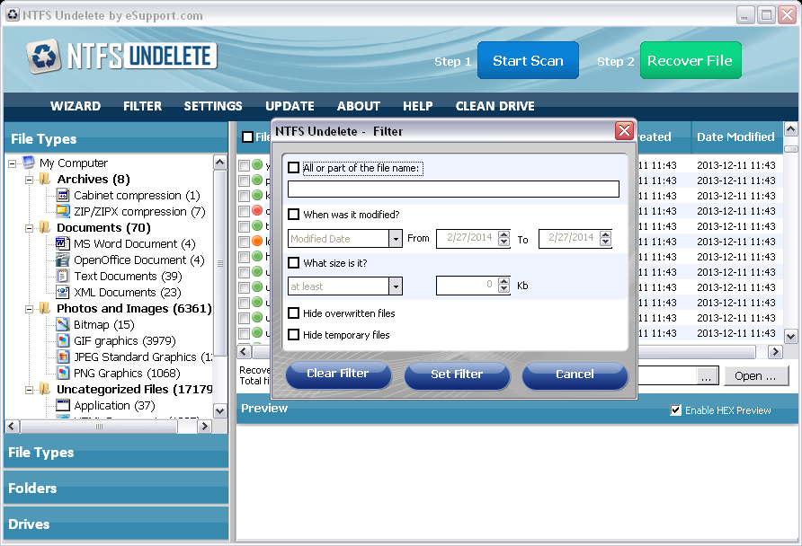 NTFS Undelete filter